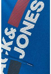 Jack & Jones - Bluza bawełniana. Okazja: na co dzień. Kolor: niebieski. Materiał: bawełna. Wzór: nadruk. Styl: casual