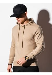 Ombre Clothing - Bluza męska z kapturem z nadrukiem B1216 - beżowa - XXL. Typ kołnierza: kaptur. Kolor: beżowy. Materiał: bawełna, poliester. Wzór: nadruk