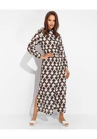 MALIPARMI - Brązowa sukienka w białe wzory. Kolor: brązowy. Materiał: materiał, bawełna. Typ sukienki: koszulowe. Długość: maxi