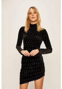Czarna sukienka Miss Sixty z asymetrycznym kołnierzem, asymetryczna, mini
