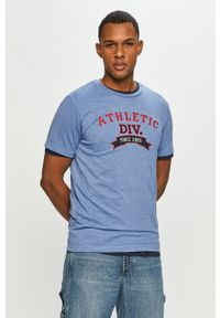 Niebieski t-shirt PRODUKT by Jack & Jones casualowy, na co dzień, z aplikacjami