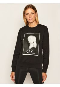 Czarna bluza Karl Lagerfeld z nadrukiem, z dekoltem karo