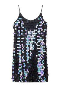 TOP SECRET - Sukienka w cekiny na cienkich ramiączkach. Okazja: na imprezę. Kolor: turkusowy. Materiał: dzianina. Długość rękawa: na ramiączkach. Styl: elegancki #7