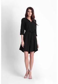 IVON - Czarna Rozkloszowana Sukienka Koszulowa z Paskiem. Kolor: czarny. Materiał: poliester, elastan. Typ sukienki: koszulowe