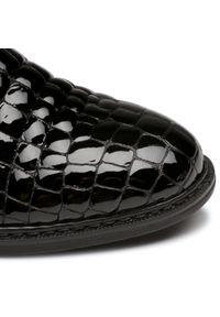 Czarne botki Rieker z cholewką, na średnim obcasie, na obcasie