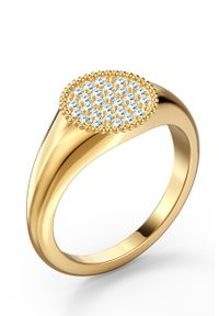 Złoty pierścionek Swarovski z aplikacjami, metalowy