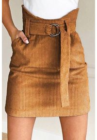Brązowa spódnica IVET casualowa, na co dzień, z podwyższonym stanem