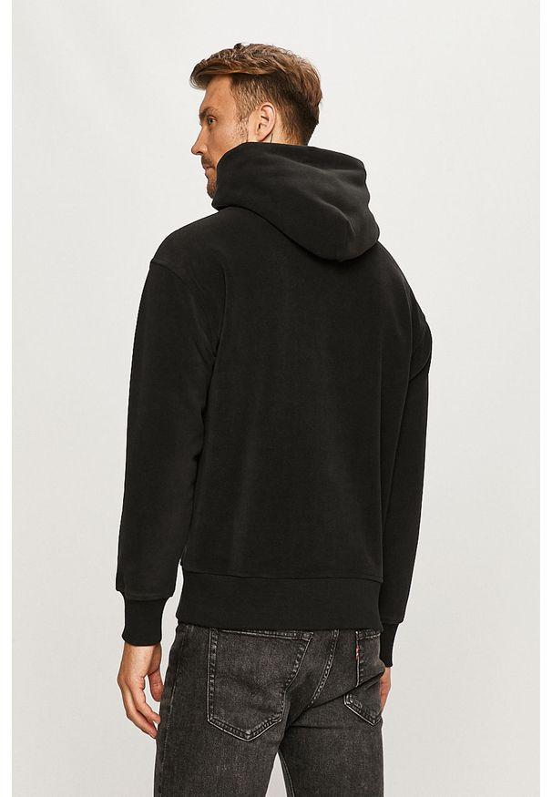 Czarna bluza nierozpinana Tommy Jeans z kapturem, z aplikacjami, na co dzień, casualowa