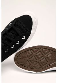 Czarne tenisówki Converse na sznurówki, z cholewką, z okrągłym noskiem