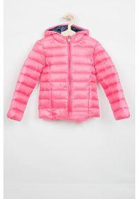 Różowa kurtka Guess Jeans z kapturem, casualowa