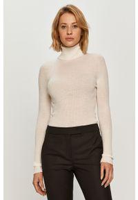 Biały sweter TwinSet z długim rękawem, z włoskim kołnierzykiem, klasyczny