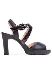 Geox - Sandały GEOX - D Annya High Sandal D D02CLD 000KY C9999 Black. Okazja: na co dzień. Kolor: czarny. Materiał: skóra, zamsz. Sezon: lato. Styl: elegancki, casual