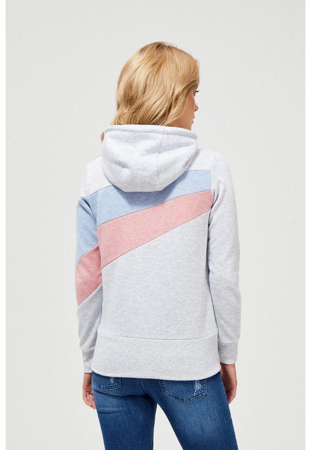 Szara bluza MOODO długa, z kapturem, z długim rękawem