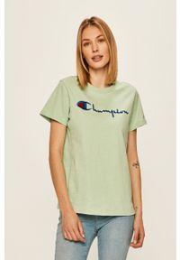 Zielona bluzka Champion casualowa, z aplikacjami, z okrągłym kołnierzem