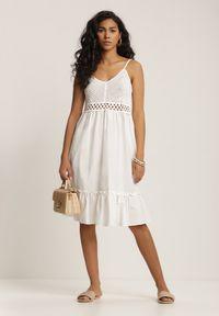 Renee - Biała Sukienka Ariereida. Typ kołnierza: dekolt w kształcie V. Kolor: biały. Materiał: bawełna, koronka. Długość rękawa: na ramiączkach. Wzór: jednolity. Typ sukienki: rozkloszowane. Długość: mini