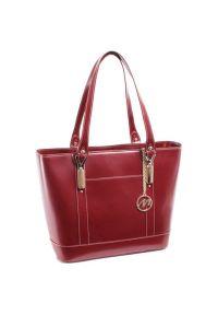 Czerwona torba na laptopa MCKLEIN klasyczna, w kolorowe wzory