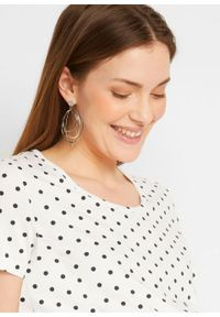 Shirt ciążowy z krótkim rękawem (2 szt.), bawełna organiczna bonprix czarny + biały w kropki. Kolekcja: moda ciążowa. Kolor: czarny. Materiał: bawełna. Długość rękawa: krótki rękaw. Długość: krótkie. Wzór: kropki
