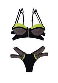 BEACH BUNNY - Dół od bikini Endless. Kolor: czarny. Materiał: materiał. Wzór: aplikacja