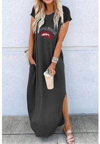 IVET - Sukienka TAMILA BLACK. Kolor: czarny. Wzór: nadruk. Sezon: lato