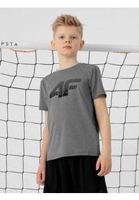 4f - T-shirt chłopięcy (122-164). Kolor: szary. Materiał: włókno