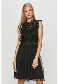 Czarna sukienka Haily's mini, rozkloszowana, w koronkowe wzory