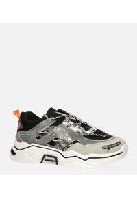 Casu - Czarne buty sportowe sneakersy sznurowane casu 20h7/b. Kolor: czarny. Materiał: skóra ekologiczna, materiał. Szerokość cholewki: normalna