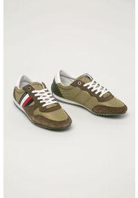 Oliwkowe sneakersy TOMMY HILFIGER z cholewką, na sznurówki