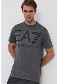 EA7 Emporio Armani - T-shirt bawełniany. Kolor: szary. Materiał: bawełna. Wzór: nadruk