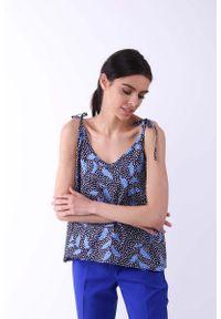 Nommo - Niebieska Bluzka -Top na Cienkich Wiązanych Ramiączkach. Kolor: niebieski. Materiał: wiskoza, poliester. Długość rękawa: na ramiączkach