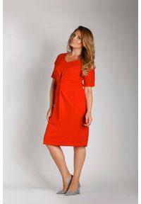 Czerwona sukienka wizytowa Nommo plus size, dla puszystych