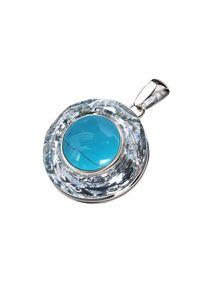 Polcarat Design - Wisiorek srebrny zdobiony Swarovski Crystal Cosmic Ring W 1705 Turkus. Materiał: srebrne. Kolor: srebrny. Wzór: aplikacja. Kamień szlachetny: turkus