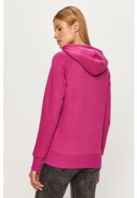 Fioletowa bluza New Balance z kapturem, z nadrukiem, casualowa