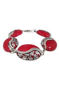 Polcarat Design - Srebrna bransoletka z koralem L 1716 Koral. Materiał: srebrne. Kolor: srebrny. Kamień szlachetny: koral