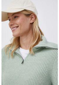only - Only - Sweter. Okazja: na co dzień. Typ kołnierza: golf. Kolor: zielony. Materiał: włókno, dzianina, materiał. Długość rękawa: długi rękaw. Długość: krótkie. Styl: casual