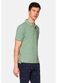 Lancerto - Koszulka Jasnozielona Polo Patrick. Typ kołnierza: polo. Kolor: zielony. Materiał: włókno, tkanina, materiał, bawełna. Wzór: ze splotem, gładki. Styl: klasyczny