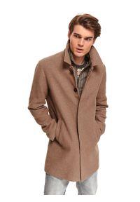 TOP SECRET - Klasyczny płaszcz z kołnierzem z tkaniny z domieszką wełny. Kolor: brązowy. Materiał: tkanina, wełna. Sezon: zima. Styl: klasyczny #1