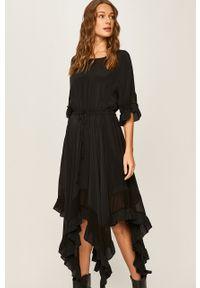 Czarna sukienka TwinSet asymetryczna, midi