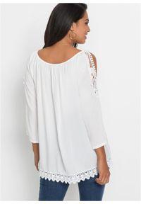 Bluzka z wycięciami na ramionach i koronką bonprix biały. Kolor: biały. Materiał: koronka. Wzór: koronka