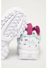 Białe buty sportowe Fila na sznurówki, z cholewką, z okrągłym noskiem
