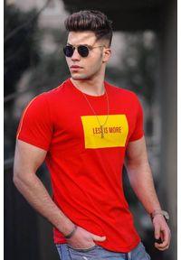 Czerwony t-shirt IVET na co dzień, casualowy, z nadrukiem