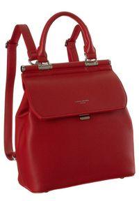 DAVID JONES - Plecak damski czerwony David Jones 6309-2 RED. Kolor: czerwony. Materiał: skóra ekologiczna. Wzór: gładki. Styl: elegancki