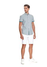 TOP SECRET - Koszula w kratkę. Kolor: zielony. Materiał: bawełna, tkanina. Długość rękawa: krótki rękaw. Długość: krótkie. Wzór: kratka. Sezon: lato. Styl: elegancki
