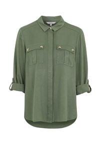 Cellbes Koszula bojówkowa z diagonalu khaki female zielony 50/52. Kolor: zielony. Materiał: wiskoza, materiał. Długość rękawa: długi rękaw. Długość: długie. Styl: elegancki