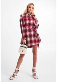 Pinko - SUKIENKA EAST PINKO. Materiał: koronka. Wzór: koronka, ażurowy. Typ sukienki: koszulowe. Długość: mini
