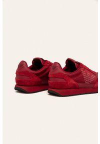 Brązowe sneakersy Emporio Armani z okrągłym noskiem, na sznurówki