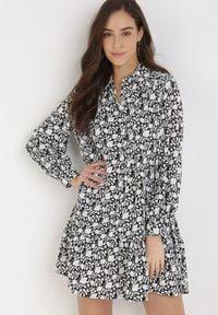 Born2be - Czarna Sukienka Oaraneh. Kolor: czarny. Długość rękawa: długi rękaw. Typ sukienki: koszulowe. Długość: mini