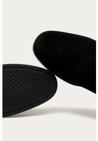 Czarne botki GANT z okrągłym noskiem, z cholewką, bez obcasa