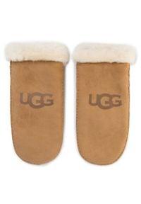 Ugg Rękawiczki Damskie W Sheepskin Logo Mitten 18690 Brązowy. Kolor: brązowy