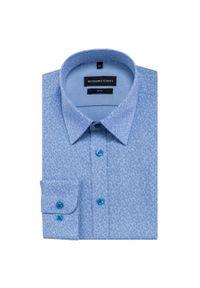 Niebieska koszula Giacomo Conti na spotkanie biznesowe, w kolorowe wzory, z klasycznym kołnierzykiem