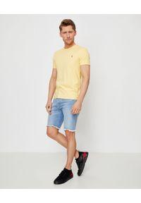 Ralph Lauren - RALPH LAUREN - Żółty t-shirt Slim Fit. Okazja: na co dzień. Typ kołnierza: polo. Kolor: żółty. Materiał: bawełna. Wzór: haft, kolorowy. Styl: casual